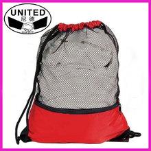 nylon mesh drawstring bag with front zip pocket