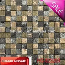 Ancient resin,dark emperador stone blend ice cracked glass mosaic tile for construction/interior decoration/backsplash