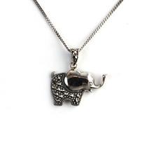 Elephant Marcasite Silver 925 Pendant
