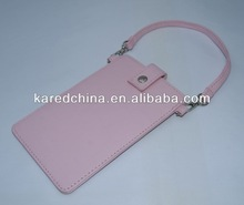 pink cute girl lady fashion promotional PU mobile phone bag iphone bag phone bulk cell phone protection bag