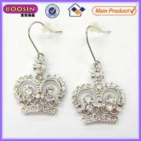 Latest model fashion earrings crown charm earrings with earring hook #21539