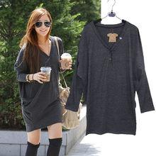 2014 Fashion lady Batwing V-neck Loose Long Tops t shirt 2 colors 3405