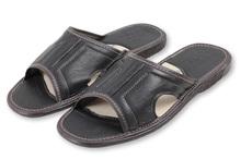 """Leather slippers for men - OM """"prezes"""""""