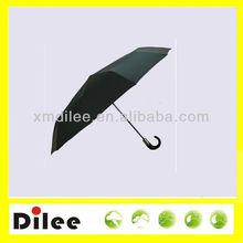 Europe black polyester 10k curved folding j umbrella