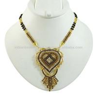 Bridal Black Beaded Cz Necklace Mangalsutra Gold Tone Ethnic Indian Jewelry - BM35