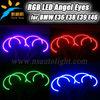 Hot sale RGB colorful halo rings 131mm semi-circle angel eyes for bmw e36, e46,e38, e39 projector car headlight rgb angel eye