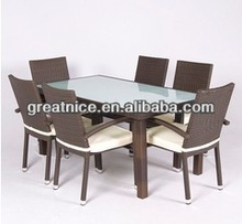 Great Nice Best-Selling New Design Outdoor Brown Rattan Dining Set