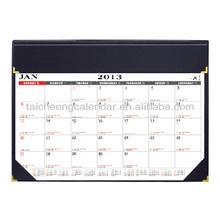 PVC Leather Gold Corner Desk Mat Planner with dual color calendar content