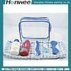 hot selling new style shinny blue mesh & pvc cosmetic bag