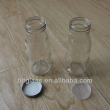 250ml clear big mouth glass milk bottle with plastic or tin lids