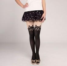 Cute Cat Tattoo Socks Sheer Pantyhose Tights Stockings