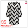 Fashion clothing factories in China ladies' loose fit white and black striped adult party dress