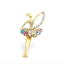 18k Gold Plated Ballet Girl Rhinestone Brooch Wholesale