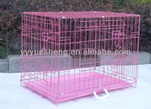"new 24"" 2 door pink folding wire pet cat dog crate cage kennel ABS"