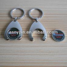 advertising specialty 2- sided custom slogan coin holder keychain