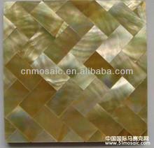 Yellow brick tile mosaic mirror shell