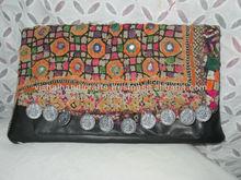 Embroidered Leather clutch Designer Clutch Bag/ Vintage Banjara Clutch bag.