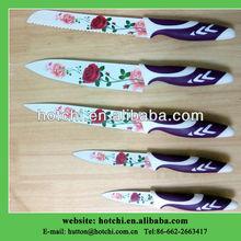 wonderful 5pcs non-stick coating rose knife set
