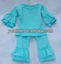 Cotton Soild Babies Outfits Super Design Ruffle Long Sleeve Long Pants Fall Sets
