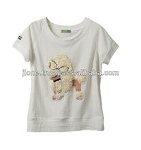 animal printed 3d t-shirt use fur and spangle(poodle)