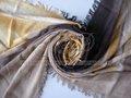 moda senhora desenho à mão de lótus de cashmere de seda xaile do lenço