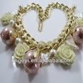 flor de moda de diamantes de imitación collar de perlas