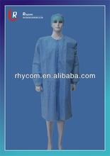 descartável de laboratório casaco de malha com gola e punhos sms azul