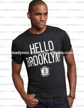 Summer dress custom logo printed black o-neck mens T shirt