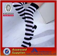 Wholesale Cheap Custom White and Black Stripes Hand Knitted Blending sex leg warmer