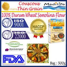 100% High Quality Durum Wheat Semolina Flour ,Tunisian Thin Grain Couscous,Couscous Thin Bag 500 g