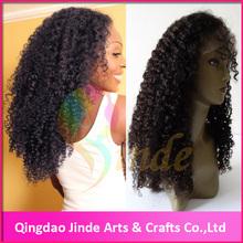 Stock Factory price 6A grande Virgin unprocessed brazilian kinky curly glueless full lace wig