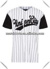 mens cheap white pinstripe union baseball t-shirt -bulk wholesale clothing made in China