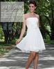 Glamorous jubah Strapless Pleat knee length handmade flower knee length short chiffon cocktail dresses
