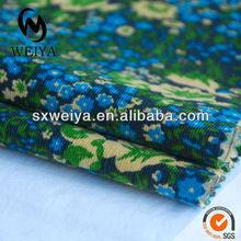 26W cotton spandex printed corduroy for shirtting fabric