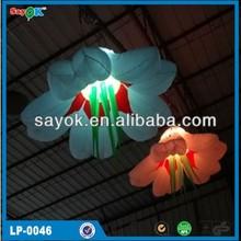 Coloful illuminating led lighting hanging inflatable flower