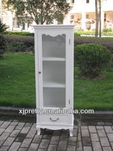 modern white wooden corner glass door display cabinet