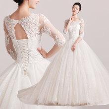 Duolaxianni Natasha. Spring 2014 lace wedding dress new Korean long-sleeved dress big tail