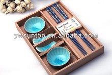 Luxury Round shape porcelain Bowl/Chopstick/Chopsticks holder dinner plate set 4colors wholesale wedding favors
