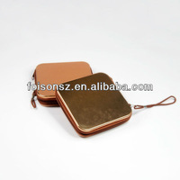 popular square zip tin box with ribbon for chewing gum packaging