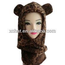 New style leopard grain soft fleece children's crazy hats for kids animal hat