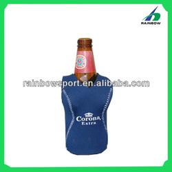Blue neoprene single beer bottle cover