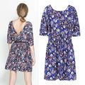 Nouveau mode estivale femmes 2014 printemps, vintage. demi manchon robe de style européen imprimé de fleurs robe dos nu 6797