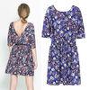 New 2014 Women Spring Summer Fashion Vintage Half Sleeve Dress European Style Flower Print Backless Dress 6797