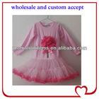long ruffles sleeve flower long skirt dress ,girl fall fluffy pettiskirt clothing ,ruffles pink trim wear