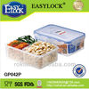 China manufacture with three compartments plastic food container with lid