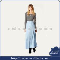 2014 fashion design wholesale long denim skirts