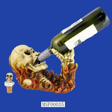 Hot Sale 2015 Polyresin Custom Horrible Skull Wine Holder