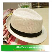 paper fedora hat with custom logo band straw fedora