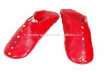 Moroccan handmade red genuine leather slipper for women