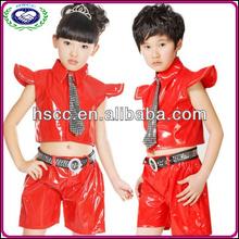 toptan çocuk erkek ve kız dans kostümleri kırmızı siyah hip hop caz balo salonu dans giyim